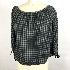 Madewell plaid off the shoulder Blouse Sz XS